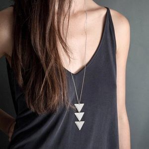 Silver Triple Triangle Long Statement Necklace